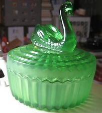 Vintage Green Depression Glass Container with Swan Lid