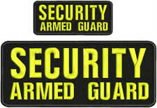 Security Armed Guard embroidery patch 4X10 and 2x5 hook yellow.