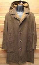 vtg Lakeland RUSTIC BROWN WOOL COAT sz 42 Wood Buttons lined 60s hooded