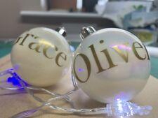 2x árbol de pegatinas de vinilo Calcomanías De Nombre Personalizado Adorno Decoración Navidad