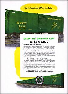 1952 Minneapolis-St Louis Railway Green & Gold Box Cars retro photo print ad S20