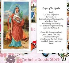 St Agatha with prayer of Saint Agatha -  Paperstock Holy Card