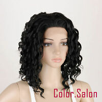 HAND TIED Synthetic Hair LACE FRONT FULL WIGS GLUELESS Off Black 91#1B