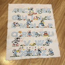 Vintage Hand Embroidered Alphabet Sampler Smurf Design Retro Craft