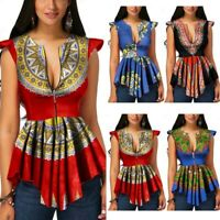 Women Summer Zipper African Printing Sleeveless Tunic T-Shirt Tops Blouse