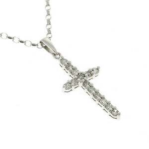 Pre Owned 18ct White Gold Diamond Cross and 18 inch Chain