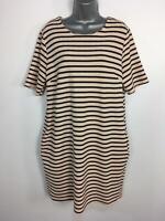 WOMENS DOROTHY PERKINS BLACK BEIGE STRIPED SHORT SUMMER SHIFT DRESS SIZE UK 16
