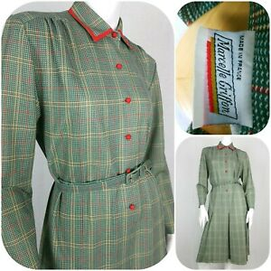 80s does 40s Dress Size 14-16 Green/Red Check Landgirl WW2 Goodwood