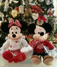RARE Disney Store Minnie Mickey Mouse Christmas Plush Exclusive 2015 Limited