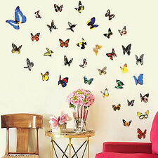 80 Pcs Colorful Butterfly Wall Stickers Decal Removable Art Vinyl Decor Home FS