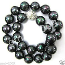 """10mm  Genuine Black South Sea Shell Pearl Necklace 18"""""""