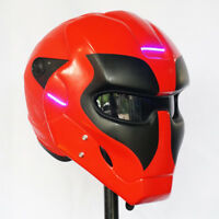 THE DEADPOOL HELMET GLOSSY BLACK RED MOTORCYCLE ABS CUSTOM AIRBRUSH LAMP Size: L