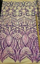 "Iridescent Lavender/Nude Stretch Nylon Spandex Mesh Sequin Fabric ""Constellation"