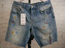 Zara Man Paint Splatter Denim Ripped Shorts Sz 31
