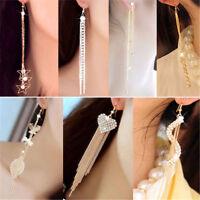 Women Korean Long Style Rhinestone Tassel Leaf Crystal Ear Stud Earrings Gifts