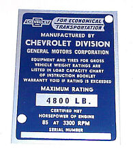 1953 NEW Identification Door Post Plate Chevrolet Chevy 1/2 ton Pickup Truck  53