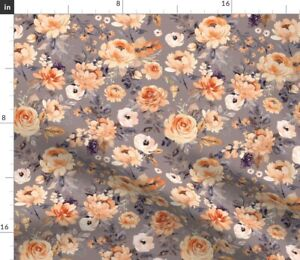 Flower Flowers Peach Autumn Fall Roses Spoonflower Fabric by the Yard