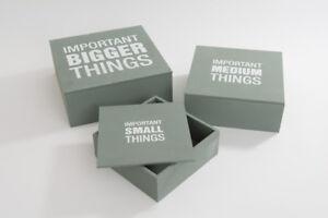 Set of 3 Nesting Keepsake Storage Grey & White Wooden Important Things Boxes