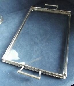 """SUPERB Large 18"""" ~ SILVER Plate & Etched GLASS ~ Serving TRAY ~ c1890"""