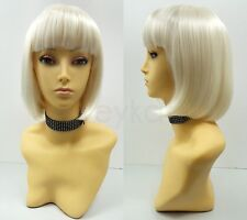 Platinum Blonde Short Bob Wig Straight Bangs Synthetic Cosplay Page Boy 9""