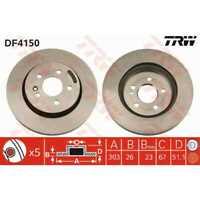 TRW 2x Disques de Frein Ventilé Peint Noir DF4150