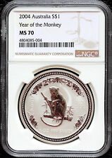 2004 Australia Year of the Monkey 1 oz 999 SILVER COIN Lunar series 1 NGC MS 70