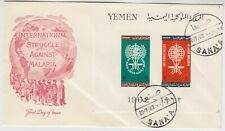 YEMEN 1962 *MALARIA* miniature sheet on official illustrated FDC with SANA'A cd