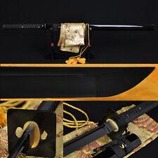 FULL BLACK STEEL FULL TANG BLADE HANDMADE Japanese SAMURAI NINJA SWORD VERYSHARP