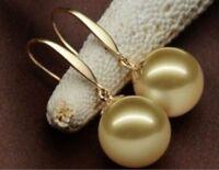 AAAA++ 16mm Natural Australian South Sea Golden Pearl Earrings 14k Gold+box
