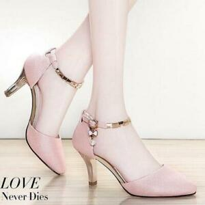 Ladies Casual Breathable Sandals Frosted Pointed Toe Strap Low-Top High Heels