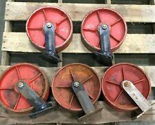 Lot Of 5 12 Cast Iron Caster Wheel 3 Swivel 2 Straight
