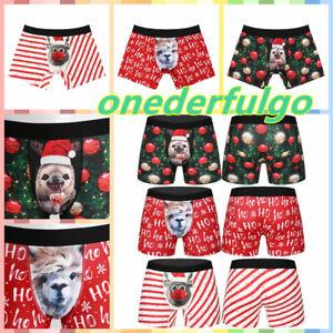 Men Christmas Santa Claus Funny Boxer Briefs Shorts Underwear Stretch Underpants