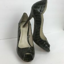 Shiekh Sz 9 Green Stiletto Heels Open Peep Toe Alligator Print Slip On Shoe