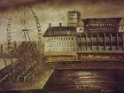 Dipinto London eye seppia paesaggio urbano arte contemporanea su tela ad olio