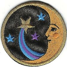 "2"" Celestial Man in the Moon Face Shooting Star Comet Embroidery Patch"