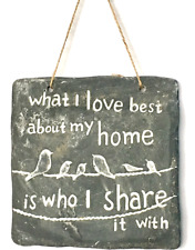 Slate Hanging Wall Plaque 17x17cm What I Love Best My about My Home Sign Mum Nan