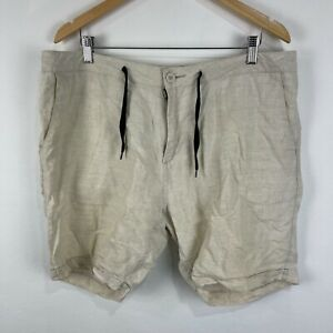Mr Simple Mens Linen Shorts 34 Beige Zip Closure Drawstring Pockets