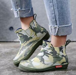 Camo Men's Boots Waterproof Non-slip Water Garden Outdoor Shoes Ankle Rain Boots