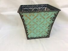 Vintage Flower Herb Planter - Metal - Painted - Green Distressed Rustic Textured