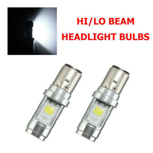 2x BA20D H6 S2 Motorcycle LED Headlight Lamps Hi/Low Beam Conversion White Bulbs
