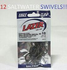 12 Lazer Sharp Sz.10 Ball Bearing Swivels w/ Tournament Snap(SLBBCS10) EB170203