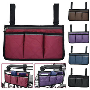 Portable Wheelchair Side Hanging Bag Armrest Pouch Organizer Pocket Holder US