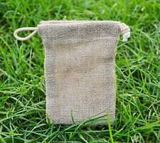 10 X Mini Jute Hessian Drawstring Pouch  Wedding/Gift/Party Favour Bag