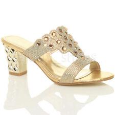 Sandalias y chanclas de mujer de tacón medio (2,5-7,5 cm) de color principal oro talla 36