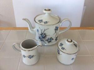 Mitterteich Bavaria Tea Pot/Milk Jug/Sugar Bowl Forget me Not - UNUSED