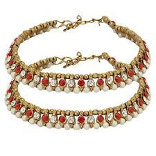 Foot Beads Red Stone Vintage Jewelry Indian Anklets Payal Ankle Bracelet Bare