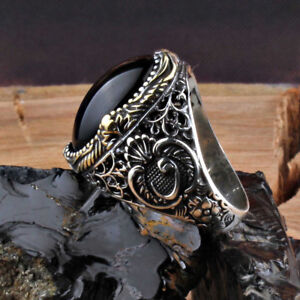 Handmade pure 925 SILVER rings Box black Onyx for Men all sizes wedding RRP £60