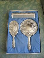 Vintage silver plated dressing table /vanity set=mirror brush comb+original box