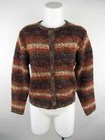 Dressbarn Women's sz M Brown Printed Button-Down Crewneck Cardigan Sweater