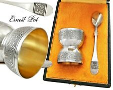 French Silver & Vermeil 2pc Breakfast Set Egg Cup and Spoon with Guilloche decor